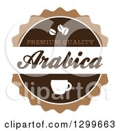 Clipart Of A Retro Brown And White Arabica Coffee Label Royalty Free Vector Illustration