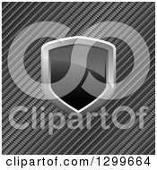 Clipart Of A 3d Shiny Black And Chrome Shield Over Diagonal Carbon Fiber Royalty Free Vector Illustration