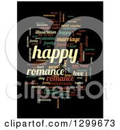 Clipart Of A Cloud Of Colorful Happy Word Tags On Black 2 Royalty Free Illustration by oboy