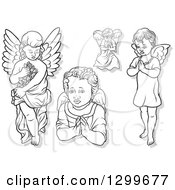 Clipart Of Black And White Angels Carrying Flowers And Praying With Gray Shadows Royalty Free Vector Illustration by dero