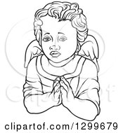 Clipart Of A Black And White Angel With Prayer Hands Royalty Free Vector Illustration by dero