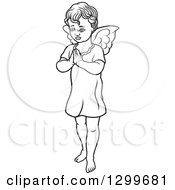 Clipart Of A Black And White Angel Standing With Prayer Hands Royalty Free Vector Illustration by dero