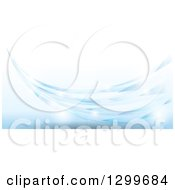 Clipart Of A Background Of A Blue Swoosh With Flares Over Tiles Royalty Free Vector Illustration