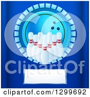 Clipart Of A Blue Bowling Ball Circle With Pins Over A Plaque On Blue Royalty Free Vector Illustration by elaineitalia