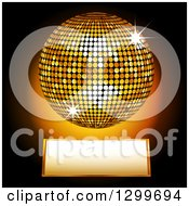 Clipart Of A 3d Sparkling Gold Disco Ball Over A Plaque On Black Royalty Free Vector Illustration