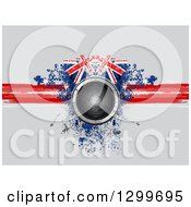 Clipart Of A 3d Music Speaker Over A Red Blue And White Grungy Union Jack Design On Gray Royalty Free Vector Illustration by elaineitalia