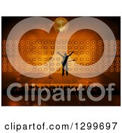 Clipart Of A Silhouetted Male Rock Star Musician On Stage With Fans Against Flares Speakers And A Disco Ball Royalty Free Vector Illustration by elaineitalia