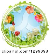 Clipart Of A Grungy Green And White Circle Around Roses Tulips Hibiscus Flowers Grass And Butterflies On Blue Royalty Free Vector Illustration