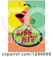 Clipart Of A Retro Colorful Pop Art Couple About To Kiss Over Salmon Pink Royalty Free Vector Illustration by pauloribau