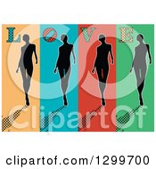 Clipart Of A Retro Silhouetted Women Walking On Colorful Panels With Halftone Shadows And LOVE Text Royalty Free Vector Illustration by pauloribau