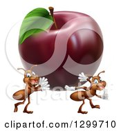 Clipart Of Cartoon Happy Ants Carrying A Big Red Apple Royalty Free Vector Illustration by AtStockIllustration