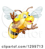 Clipart Of A Cartoon Happy Bee Waving Royalty Free Vector Illustration by AtStockIllustration