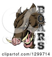 Clipart Of A Fierce Brown Boar Mascot Head With Text Royalty Free Vector Illustration