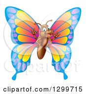 Clipart Of A Cartoon Happy Butterfly Waving Royalty Free Vector Illustration by AtStockIllustration