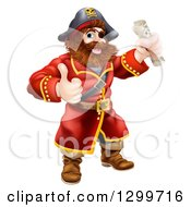 Clipart Of A Happy Male Pirate Captain Holding A Treasure Map And Giving A Thumb Up Royalty Free Vector Illustration