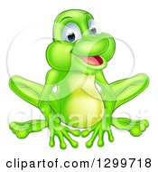 Cartoon Happy Green Frog Sitting