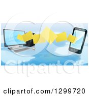 Clipart Of 3d Folder File Transfer From A Desktop Computer To A Smart Cell Phone Over A Map Royalty Free Vector Illustration