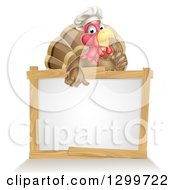 Clipart Of A Pleased Turkey Bird Chef Giving A Thumb Up Over A Blank White Sign Royalty Free Vector Illustration