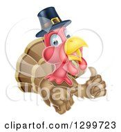Clipart Of A Pleased Thanksgiving Turkey Bird Wearing A Pilgrim Hat And Giving A Thumb Up Royalty Free Vector Illustration by AtStockIllustration