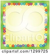 Clipart Of A Border Made Of Colorful Flowers Around Yellow On Green Royalty Free Vector Illustration