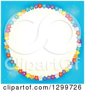 Clipart Of A Round Frame Made Of Colorful Flowers Around Yellow On Blue Royalty Free Vector Illustration