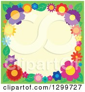Clipart Of A Border Made Of Colorful Flowers Around Yellow On Green 3 Royalty Free Vector Illustration