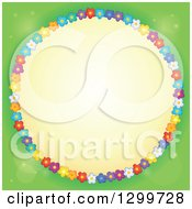 Clipart Of A Round Frame Made Of Colorful Flowers Around Yellow On Green Royalty Free Vector Illustration