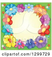 Border Made Of Colorful Flowers Around Yellow On Green 2