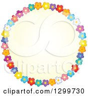 Round Frame Made Of Colorful Flowers Around Yellow