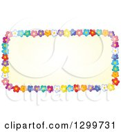 Clipart Of A Rectangle Frame Made Of Colorful Flowers Around Yellow Royalty Free Vector Illustration