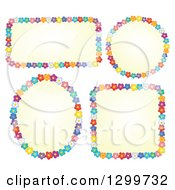 Clipart Of Frames Made Of Colorful Flowers Around Yellow Royalty Free Vector Illustration