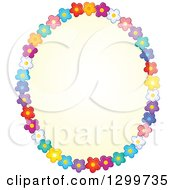 Clipart Of An Oval Frame Made Of Colorful Flowers Around Yellow Royalty Free Vector Illustration