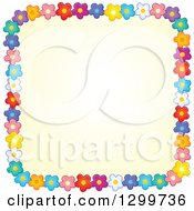 Clipart Of A Square Frame Made Of Colorful Flowers Around Yellow Royalty Free Vector Illustration