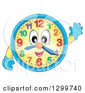 Clipart Of A Happy Wall Clock Character Waving Royalty Free Vector Illustration