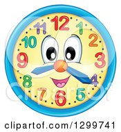Clipart Of A Happy Wall Clock Character Royalty Free Vector Illustration by visekart