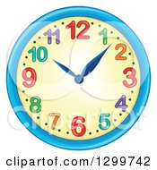 Clipart Of A Colorful Wall Clock Royalty Free Vector Illustration
