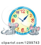 Clipart Of A Wall Clock And Resting Mice Royalty Free Vector Illustration by visekart