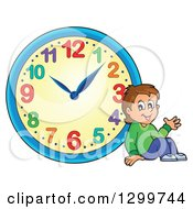 Clipart Of A Boy Resting By A Wall Clock Royalty Free Vector Illustration by visekart