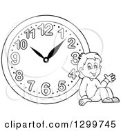 Clipart Of A Black And White Boy Resting By A Wall Clock Royalty Free Vector Illustration by visekart