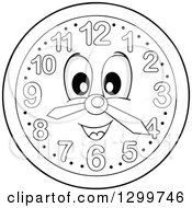 Clipart Of A Happy Grayscale Wall Clock Character Royalty Free Vector Illustration