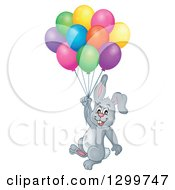 Clipart Of A Gray Bunny Rabbit Floating With Colorful Party Balloons Royalty Free Vector Illustration by visekart