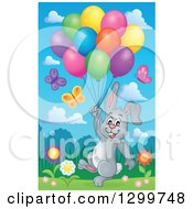 Clipart Of A Gray Bunny Rabbit Floating With Colorful Party Balloons In A Spring Meadow Royalty Free Vector Illustration