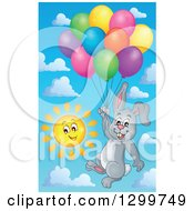Clipart Of A Gray Bunny Rabbit Floating With Colorful Patterned Party Balloons Against A Sky Royalty Free Vector Illustration