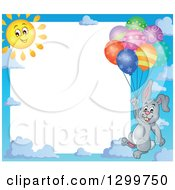 Clipart Of A Border Of A Sun And Gray Bunny Rabbit Floating With Colorful Patterned Party Balloons Royalty Free Vector Illustration