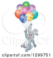Clipart Of A Gray Bunny Rabbit Floating With Colorful Patterned Party Balloons Royalty Free Vector Illustration by visekart