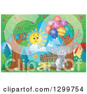 Clipart Of A Gray Bunny Rabbit Floating With Colorful Patterned Party Balloons In A Park Royalty Free Vector Illustration