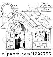 Clipart Of A Black And White Boy And Girl In A Play House Royalty Free Vector Illustration