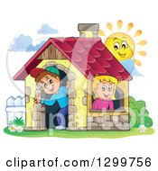 Clipart Of A White Boy And Girl In A Play House With A Sun Royalty Free Vector Illustration