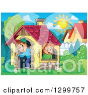 Clipart Of A White Boy And Girl In A Play House On A Sunny Day Royalty Free Vector Illustration
