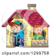 Clipart Of A White Boy And Girl In A Play House Royalty Free Vector Illustration